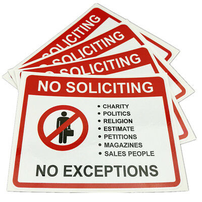 """No Soliciting No Exceptions Sign Decal Sticker 4*5"""" Waterproof scratch resistant"""