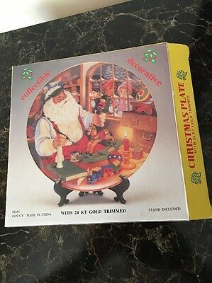 JSNY #2454 Collectible Christmas Plate With 24 KT Gold Trim