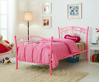 Single Bed 3FT Pink Metal Bed Frame Girls Child Kids Bed and with Mattress New