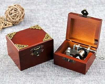 Wooden Vintage Square Hand Crank Music Box ♫ JINGLE BELL  ♫