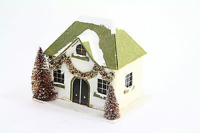 CHRISTMAS VINTAGE GLITTER Midwest Cannon Falls Cardboard Vintage Table House