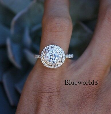 1Ct Nearly White Moissanite Diamond Double Halo Engagement Ring 925 Silver