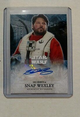 2016 Star Wars Force Awakens Greg Grunberg as Snap Wexley Purple Auto #49/50