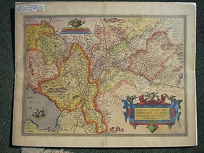 ORTELIUS Lowlands Map GELRIAE-GELDERLAND-CLIVIAE-NETHERLANDS-GERMANY-1592-