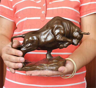 "Sculpture&Carving Bronze coffee Wall Street Fierce Bull OX Figure Statue 9""Long"