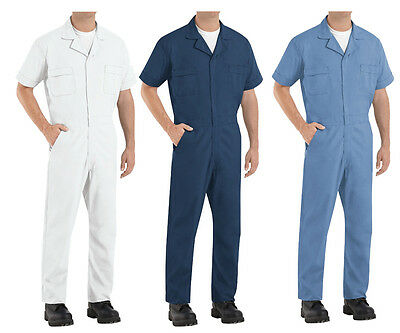 Red Kap Mens Coverall Short / Long Sleeve Poplin Work Uniform Jumpsuit Irregular