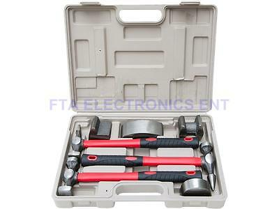 7 pc Heavy Duty Dent Auto Body Fender Repair Hammer Dolly Professional Kit Set