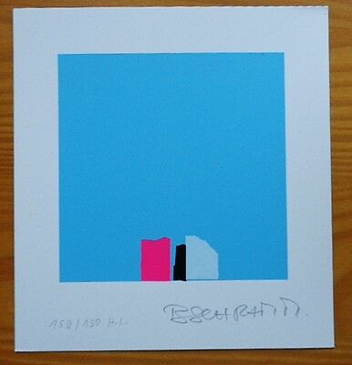 Bodo SCHRAMM 1980s ORIGINAL ABSTRACT SIGNED LITHOGRAPH PRINT blue pink black