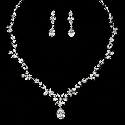 White Gold Plated Zirconia CZ Necklace Earrings Bridal Wedding Jewelry Set 00909