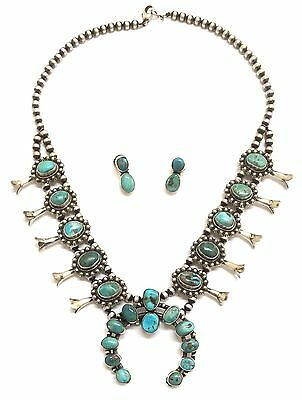 Navajo Sterling Silver Morenci Turquoise Squash Blossom Necklace Earring Set