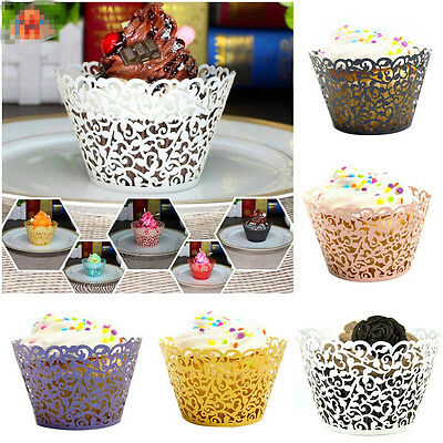 50Pcs Christmas Party Hollow Cup Muffin Cake Paper Case Wraps Cupcake Wrapper