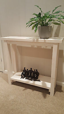 White Wash Chunky Solid Wood Console Hall Table - Various Sizes Available