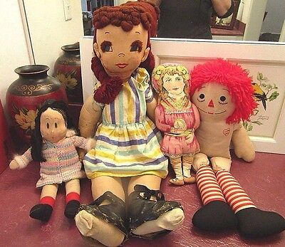 Cloth Dolls from the '40's, 50's, 60's ...  Delightful Shabby Chic Lot!