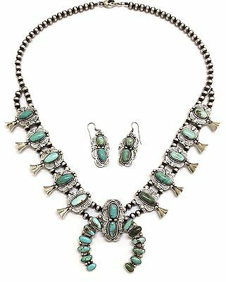 Navajo Sterling Silver Royston Turquoise Squash Blossom Necklace Earring Set
