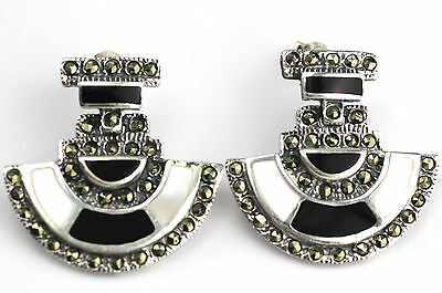Art Deco Style Mother Of Pearl, Onyx And Marcasite Earrings 925 Sterling Silver
