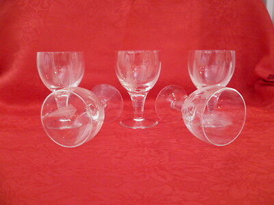 5 X Vintage Hand Cut Stuart Crystal Fern Leaf  Large Port Sherry Water Glasses