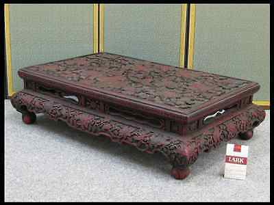 Chinese Old Large Flower Table / Red Lacquer Tick / W 72.5 × 46.5 × H 20cm, 13kg