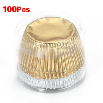 100 Foil Cupcake Liners Baking Cups Cake Candy Cookie Decoration T1
