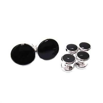 Men's Classic Round Tuxedo Shirt Studs Set and Cufflinks, with Black Center T1
