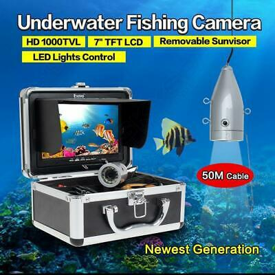"Eyoyo 50m 7"" LCD Fish Finder Silver Underwater Fishing HD Video Camera+Sunshield"