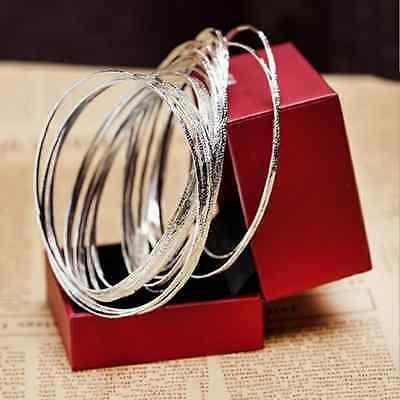 Women's Charm Solid Silver Fashion Cute Jewelry 10 Circle Bangle Bracelet Gift