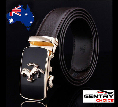 Genuine Leather Automatic Lock Stainless Horse Buckle Black Dress Belt