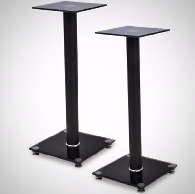 2 pcs Glass Speaker Stand (Each with 1 Black Pillar) Aluminium Robust Modern NEW