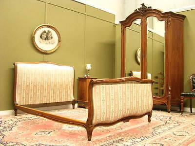 ANTIQUE / VINTAGE FRENCH CARVED BEECH DOUBLE BED FRAME ~ BEAUTIFUL FABRIC c1930s
