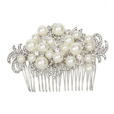 Bridal Wedding Crystal Rhinestone Pearl Flower Hair Clip Comb Pin Headband