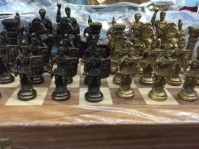 Unique Handmade Brass Metal Chess Game Figure Satrang Set Indian Collectible