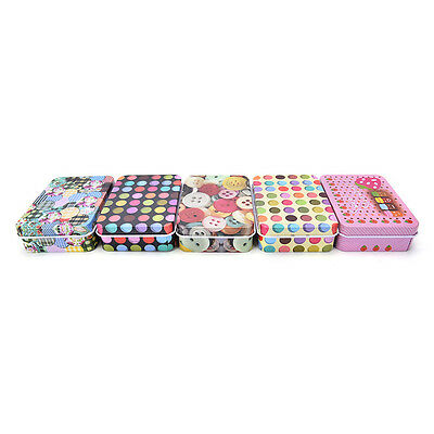 Mini Tin Metal Container Small Rectangle Lovely Storage Box Case Pattern