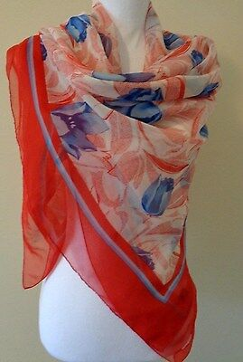 Huge sheer Tie Rack red and blue floral scarf made in Italy
