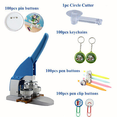 "New Pro 1"" 25mm Button Maker Machine Badge Press+Pin Buttons+Pen Clip Buttons"