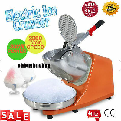 143LBS 300W Electric Ice Crusher Shaver Machine Snow Cone Maker Shaved orange MN
