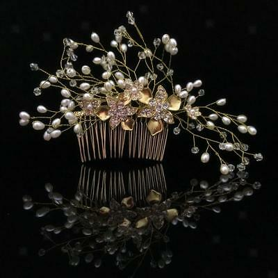 Wedding Bridal Hair Comb Flower Crystal Pearl Headpiece Hair Jewelry- Gold
