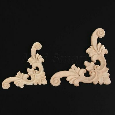 Classic Vintage Wood Flower Corner Onlay Applique Furniture Craft Frame Decor