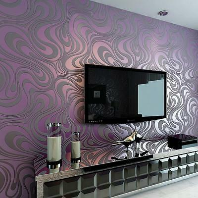 3d Wallpaper Modern Luxury Abstract Curve  Roll Mural Flocking Wall Paper Decor