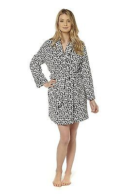 Ladies Supersoft Animal Print Black/White/Grey Robe Small Leopard Dressing Gown
