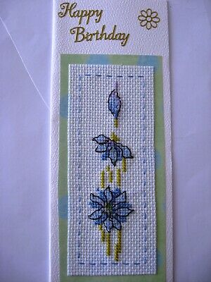 Birthday Card Completed Cross Stitch Flowers
