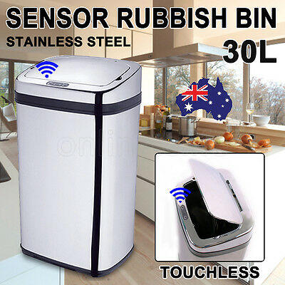 30L Touchless Stainless Steel Automatic Motion Sensor Rubbish Bin Office kitchen