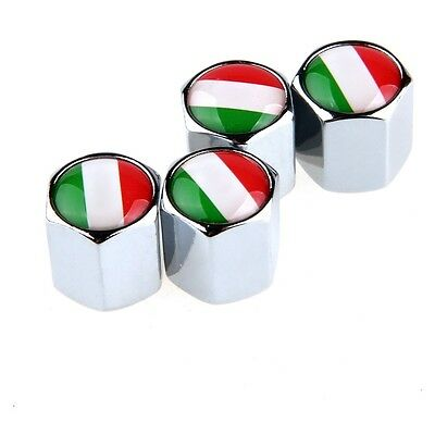 4pc Car Auto Wheel Tire Valve Air Dust CAPS Italian Italy National Flag Silvery