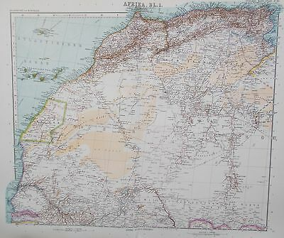 Map of North West Africa. 1909. Stieler. Perthes. SAHARA