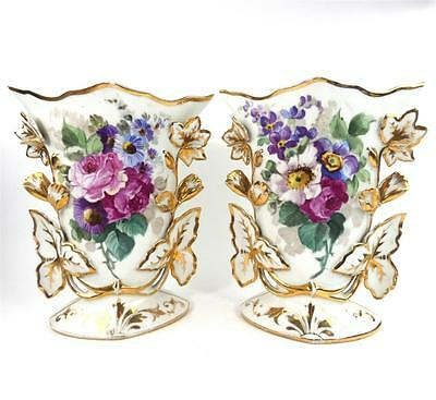 Pair Antique Continental French Porcelain Vases Painted Flowers Gilding