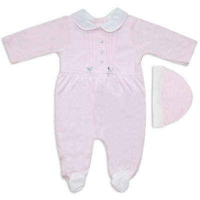 2PC Baby Girls Cute Pink Silver Bows Babygrow Set With Hat Traditional Romper