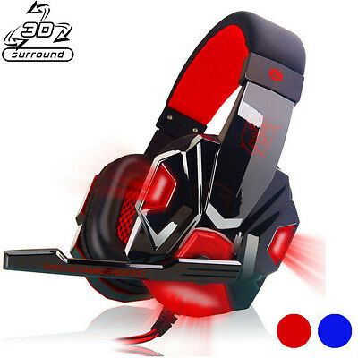 Surround 3D Stereo Gaming Headset Headband Headphone USB 3.5mm LED W/ Mic for PC