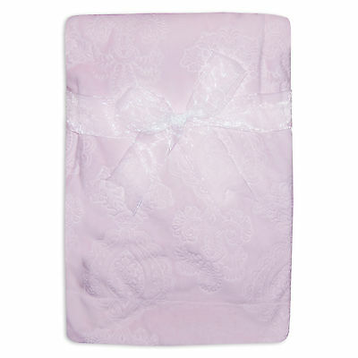 Baby Girls Pink Boutique Blanket with Paisely Velour Embossed Design Fleece Back