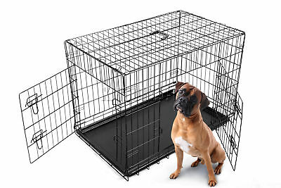 "FoxHunter 42"" Folding Pet Dog Puppy Cat Training Cage Crate Black Two Door"
