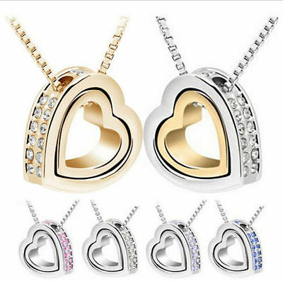 Fashion Women Chain Pendant Jewellery Crystal Heart 925 Sterling Silver Necklace