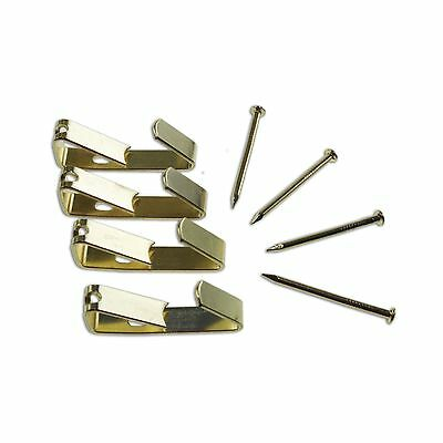 TIC ANGLE DRIVE PICTURE HOOKS 8kg Secures Hang Items, Brass Plated- 25 Or 100Pcs