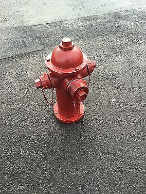 American Fire Hydrant Replica Full Size Old Vintage Aged Affect Bright Red Cool